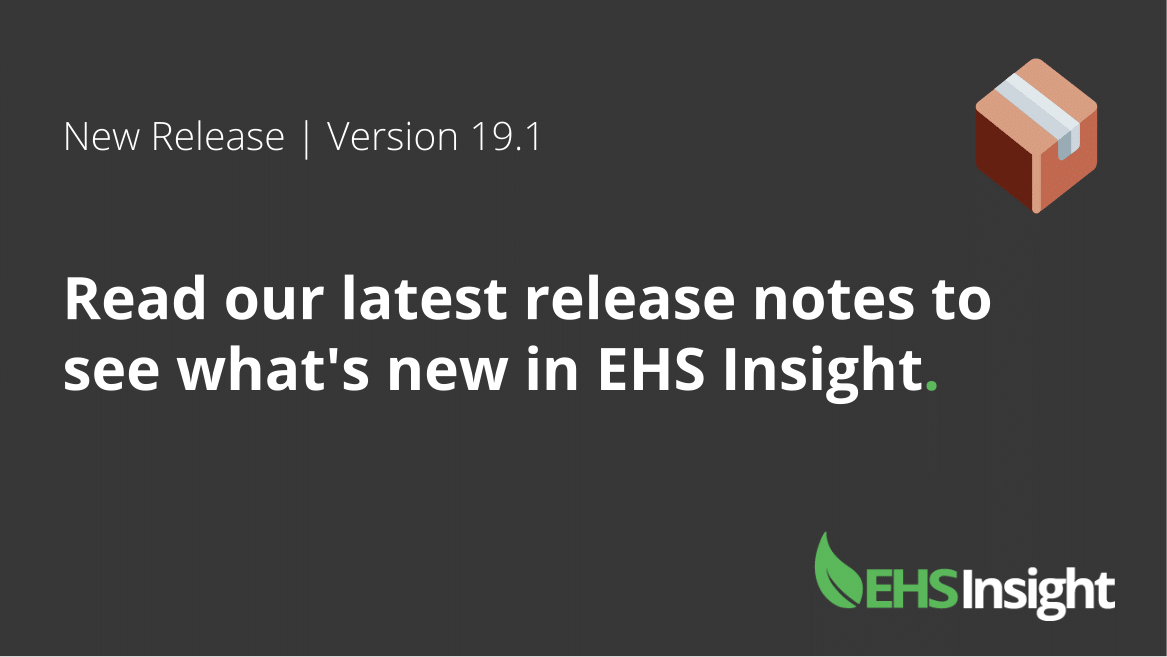 New EHS software release 19.1